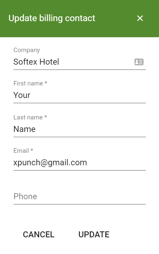XPunch Billing Contact Dialogue